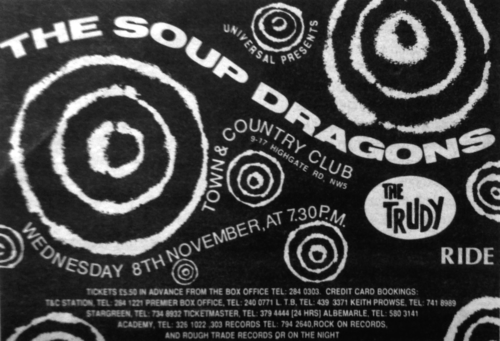 The Soup Dragons and Ride - London 8th Nov 1989