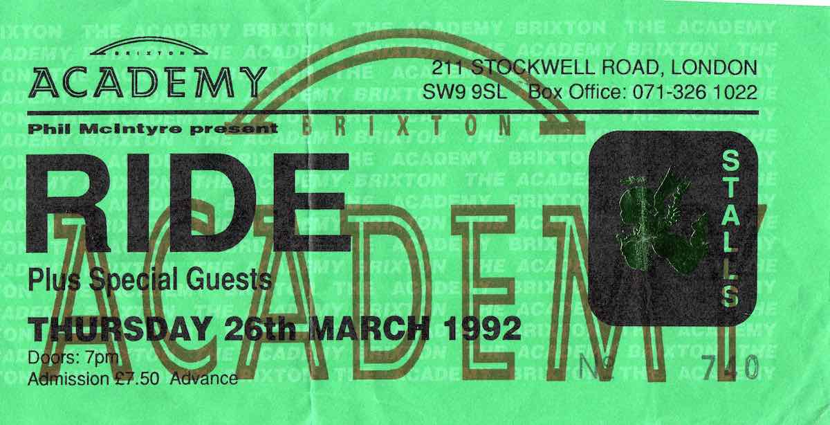 Ride Brixton 26th March 1992