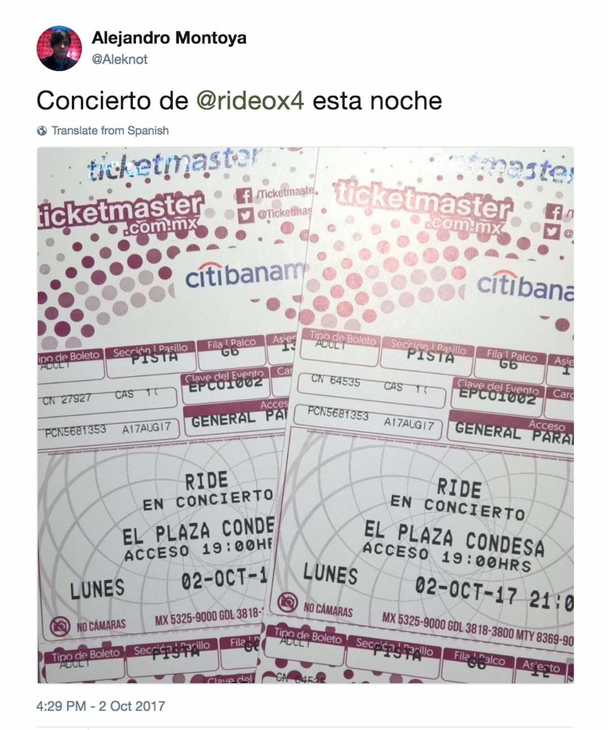 Tweet of tickets