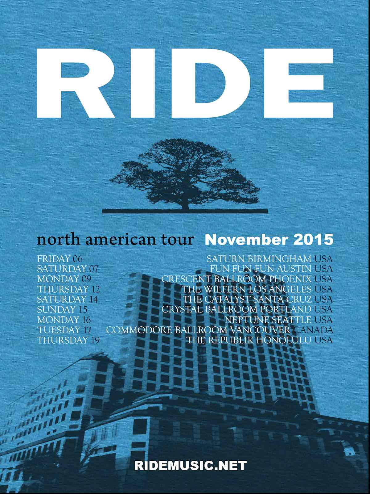 Ride US tour poster
