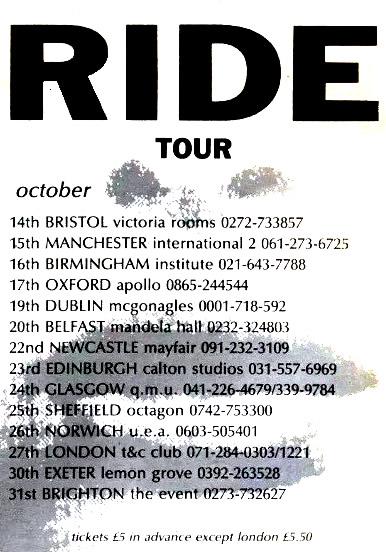 Nowhere UK tour advert
