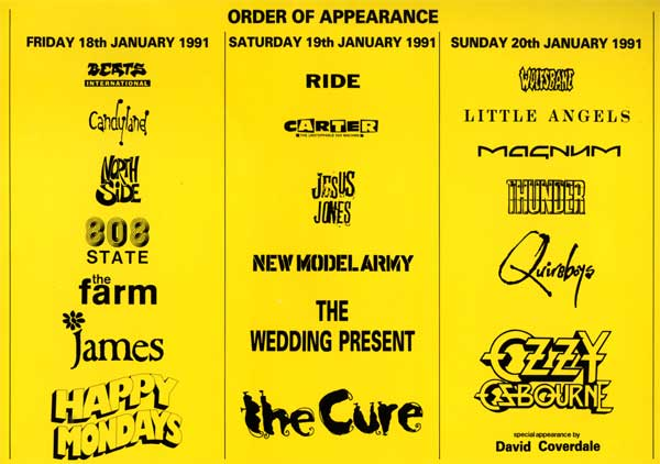Great British Music Weekend 1991 Line-up