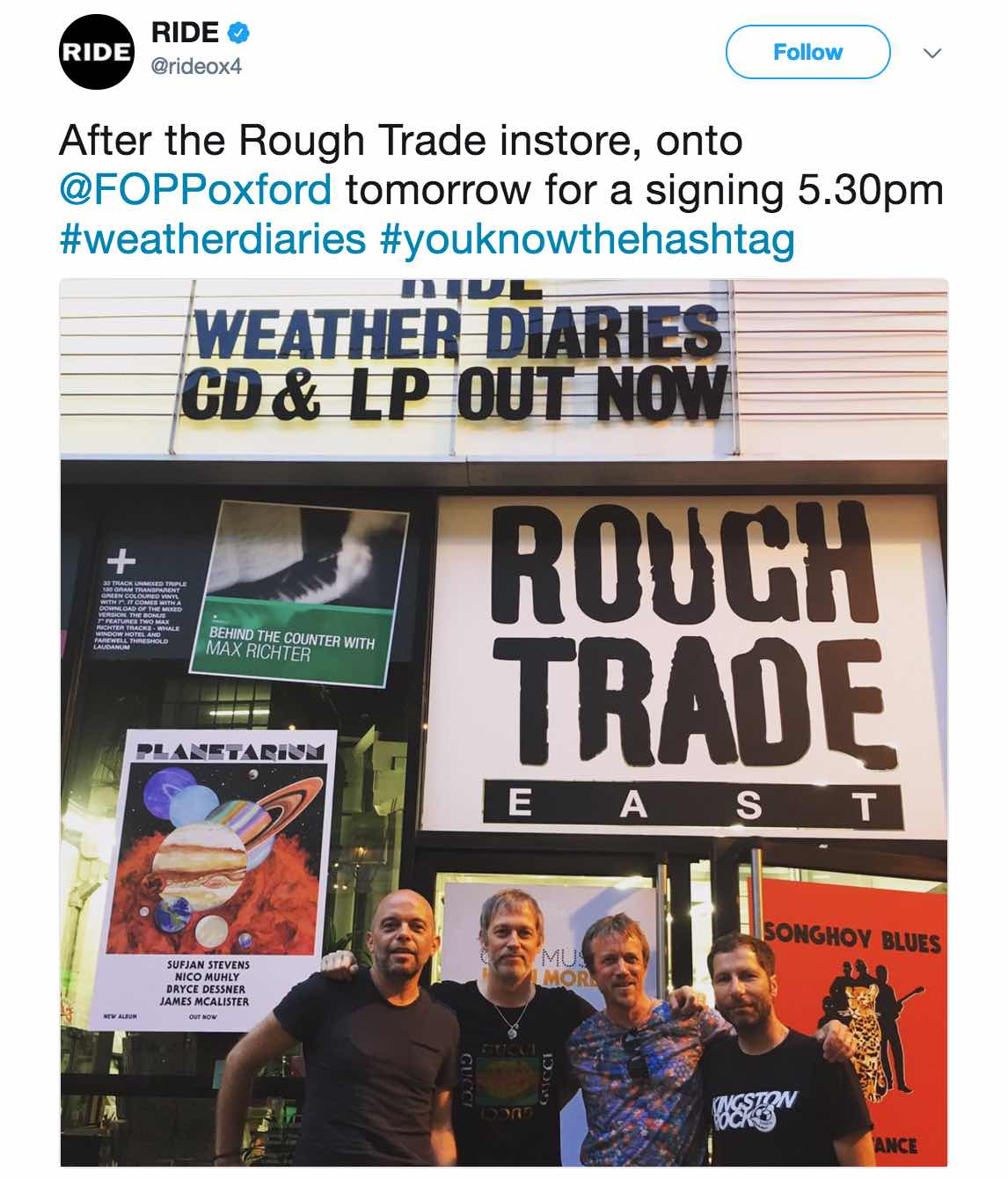 Ride outside Rough Trade