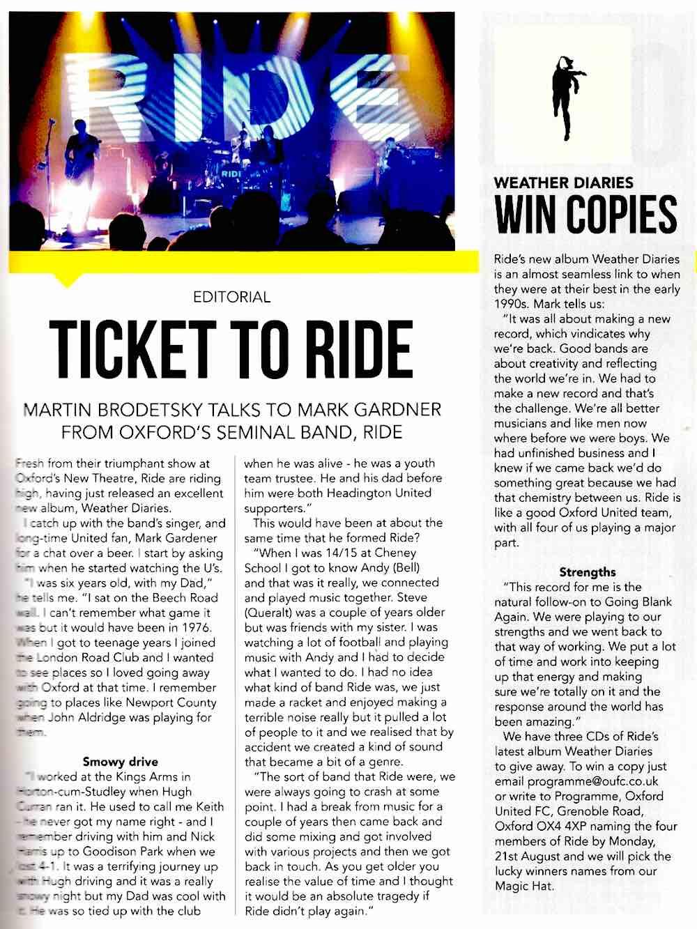 Oxford United magazine interview