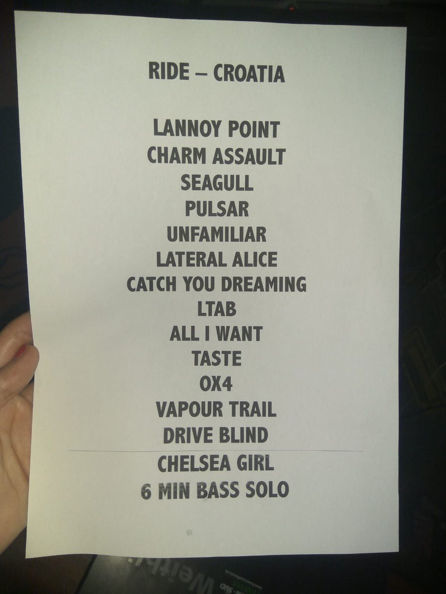 Photo of set list